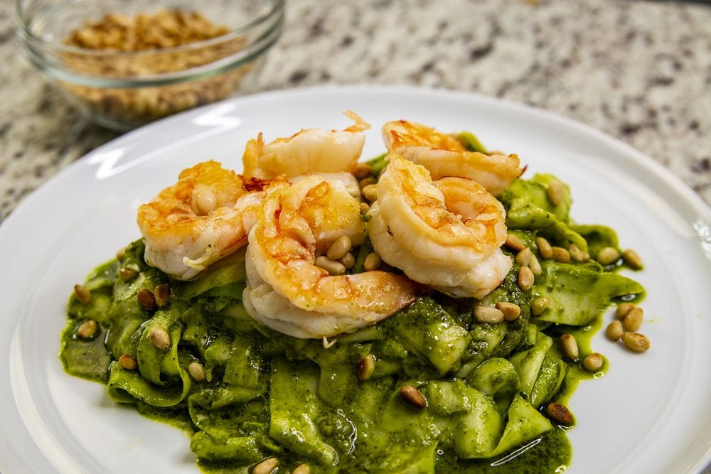 Pesto, Sauteed Shrimp, Zucchini Ribbons and Toasted Pine Nuts